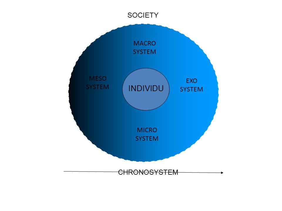 INDIVIDU MACRO SYSTEM MICRO SYSTEM MESO SYSTEM EXO SYSTEM SOCIETY CHRONOSYSTEM