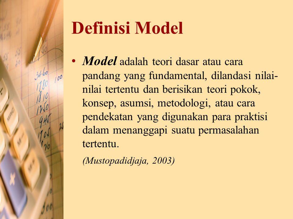 Definisi Model Model adalah teori dasar atau cara pandang yang fundamental, dilandasi nilai- nilai tertentu dan berisikan teori pokok, konsep, asumsi,