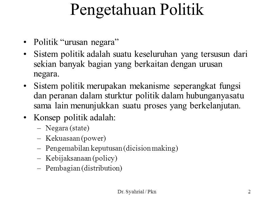 """Dr. Syahrial / Pkn2 Pengetahuan Politik Politik """"urusan negara"""" Sistem politik adalah suatu keseluruhan yang tersusun dari sekian banyak bagian yang b"""