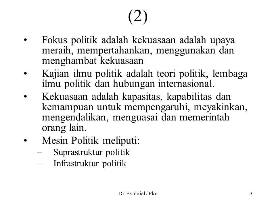 Dr. Syahrial / Pkn3 (2) Fokus politik adalah kekuasaan adalah upaya meraih, mempertahankan, menggunakan dan menghambat kekuasaan Kajian ilmu politik a