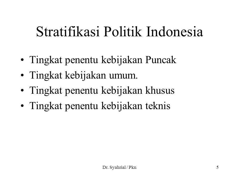 Dr. Syahrial / Pkn5 Stratifikasi Politik Indonesia Tingkat penentu kebijakan Puncak Tingkat kebijakan umum. Tingkat penentu kebijakan khusus Tingkat p
