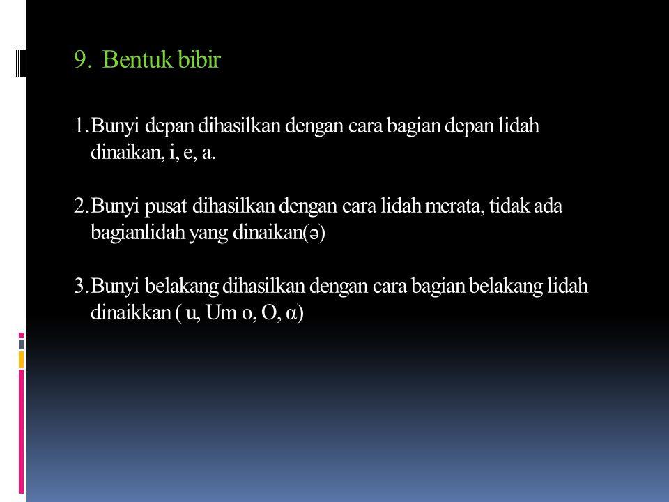 7. Cara GangguanTinggi-Rendahnya Lidah a. Bunyi stop (hambat) (b, t, d, t, d, k, g) b. Bunyi kontinum (alir) (tril, lateral, afrikatif, frikatif) c. B