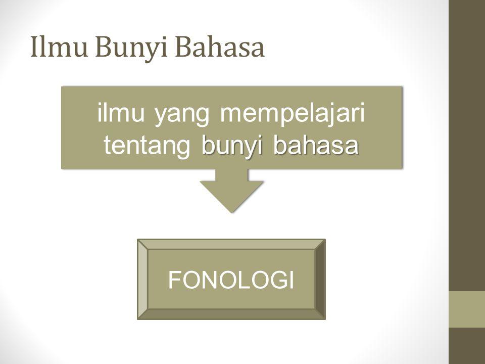 bunyi bahasa ilmu yang mempelajari tentang bunyi bahasa FONOLOGI