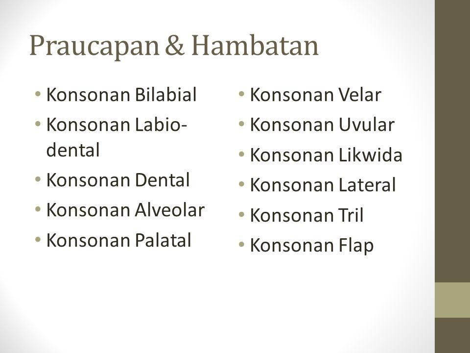 Praucapan & Hambatan Konsonan Bilabial Konsonan Labio- dental Konsonan Dental Konsonan Alveolar Konsonan Palatal Konsonan Velar Konsonan Uvular Konson