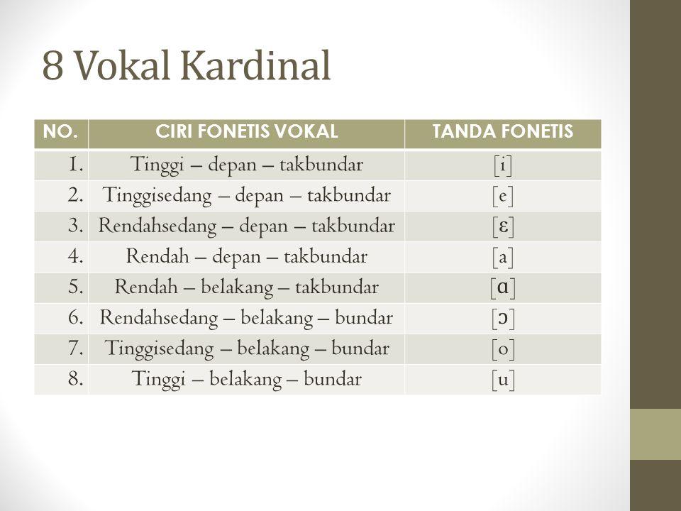 8 Vokal Kardinal NO.CIRI FONETIS VOKALTANDA FONETIS 1.Tinggi – depan – takbundar[i] 2.Tinggisedang – depan – takbundar[e] 3.Rendahsedang – depan – tak