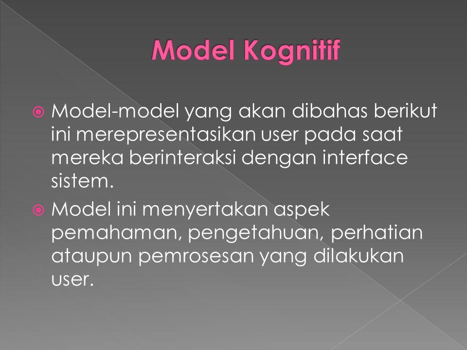  Model-model yang akan dibahas berikut ini merepresentasikan user pada saat mereka berinteraksi dengan interface sistem.  Model ini menyertakan aspe