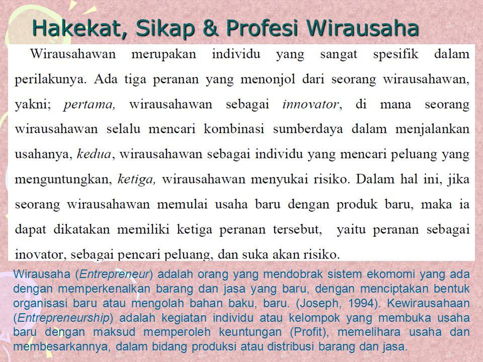 Hakekat, Sikap & Profesi Wirausaha Wirausaha (Entrepreneur) adalah orang yang mendobrak sistem ekomomi yang ada dengan memperkenalkan barang dan jasa