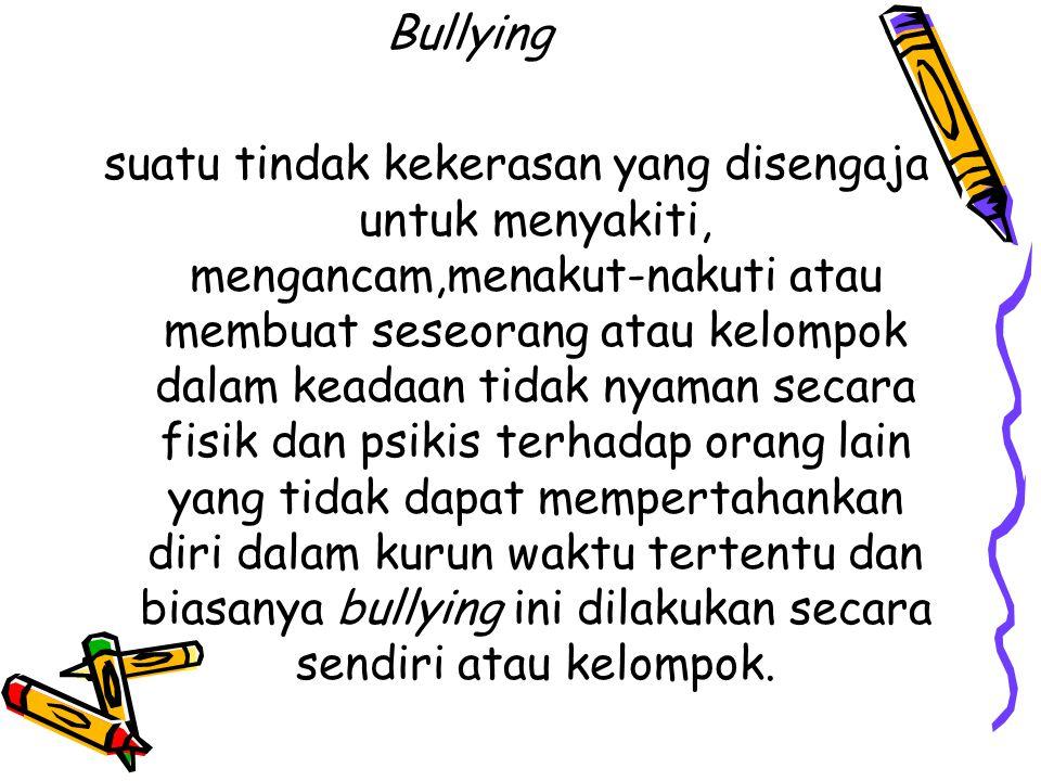 Bentuk-bentuk bullying Kontak Fisik Langsung => Memukul, mendorong, menjambak dll Kontak Verbal Langsung => Mengancam, mempermalukan, merendahkan ( put-downs ), dll Perilaku non-Verbal Langsung => Melihat dengan sinis, menjulurkan lidah, dll Perilaku- non-Verbal tidak Langsung => Mendiamkan seseorang, memanipulasi, dll Pelecehan seksual => Dapat dikategorikan perilaku agresi fisik atau verbal