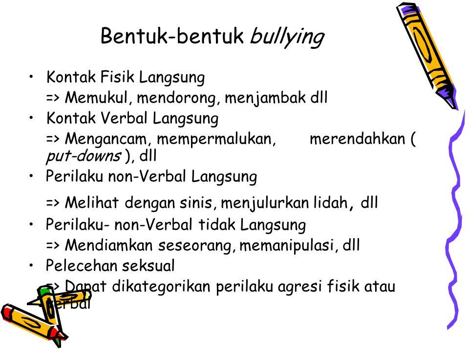 Bentuk-bentuk bullying Kontak Fisik Langsung => Memukul, mendorong, menjambak dll Kontak Verbal Langsung => Mengancam, mempermalukan, merendahkan ( pu
