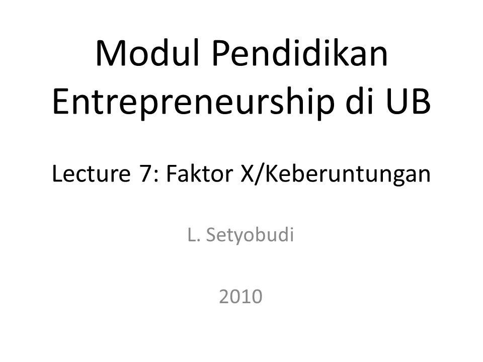 L. Setyobudi 2010 Modul Pendidikan Entrepreneurship di UB Lecture 7: Faktor X/Keberuntungan