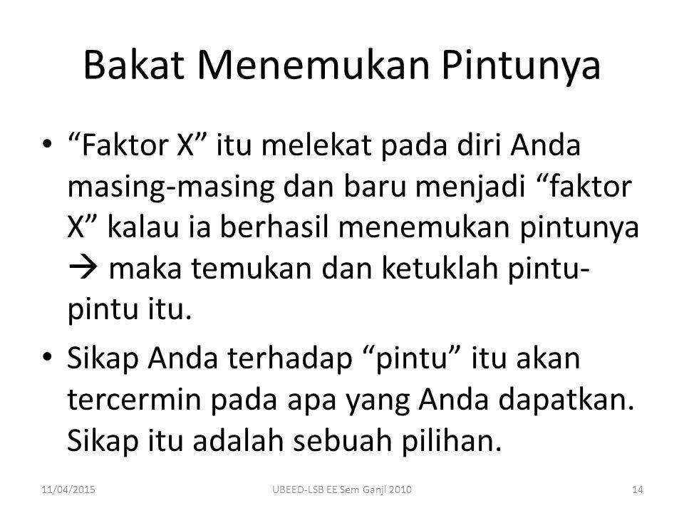 """Bakat Menemukan Pintunya """"Faktor X"""" itu melekat pada diri Anda masing-masing dan baru menjadi """"faktor X"""" kalau ia berhasil menemukan pintunya  maka t"""