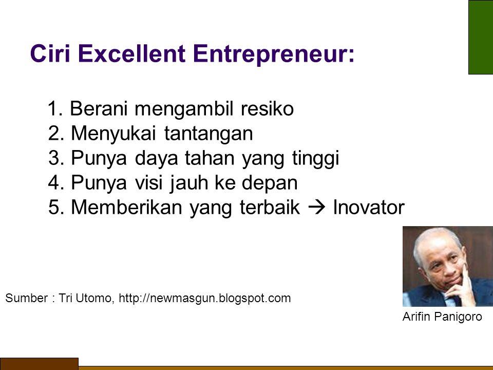 Ciri Excellent Entrepreneur: 1. Berani mengambil resiko 2. Menyukai tantangan 3. Punya daya tahan yang tinggi 4. Punya visi jauh ke depan 5. Memberika
