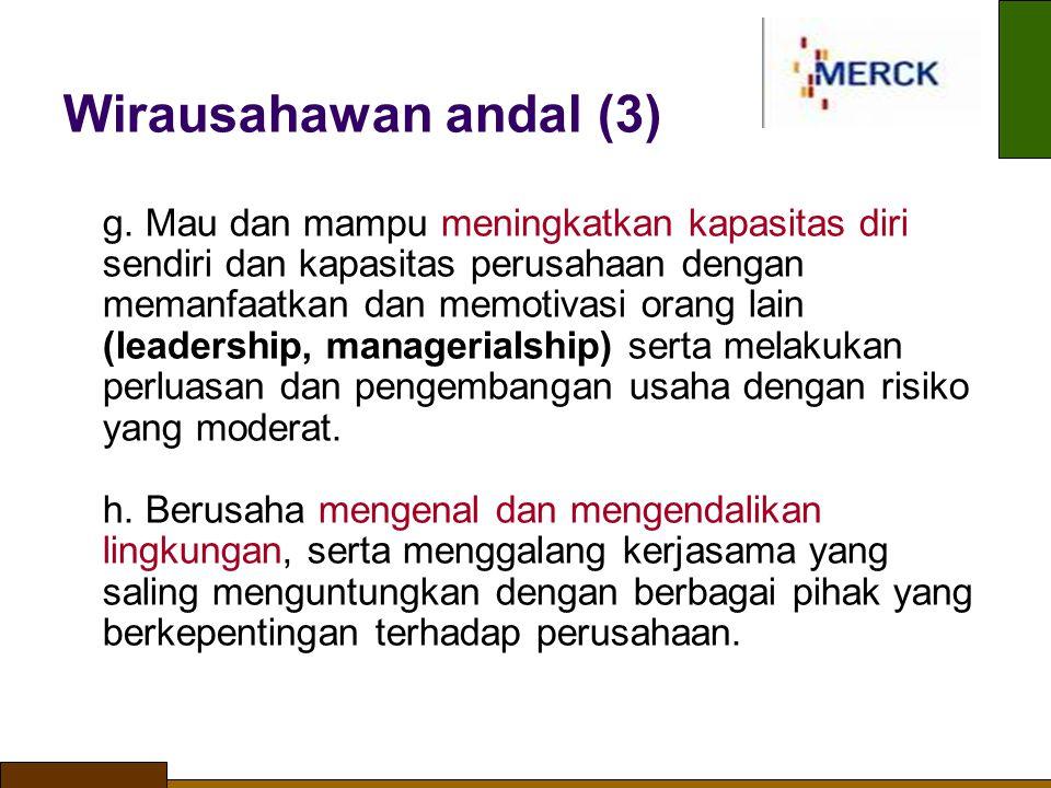 Wirausahawan andal (3) g. Mau dan mampu meningkatkan kapasitas diri sendiri dan kapasitas perusahaan dengan memanfaatkan dan memotivasi orang lain (l
