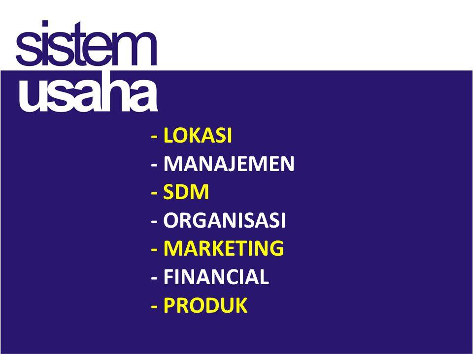 - LOKASI - MANAJEMEN - SDM - ORGANISASI - MARKETING - FINANCIAL - PRODUK