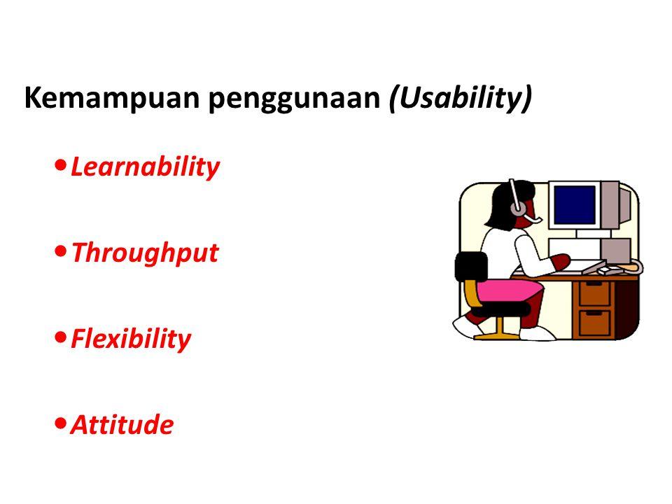 Kemampuan penggunaan (Usability) Learnability Throughput Flexibility Attitude