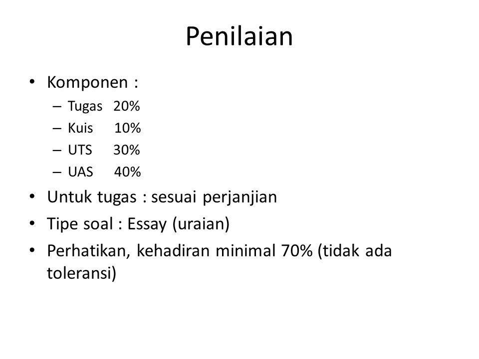 Penilaian Komponen : – Tugas 20% – Kuis 10% – UTS 30% – UAS 40% Untuk tugas : sesuai perjanjian Tipe soal : Essay (uraian) Perhatikan, kehadiran minimal 70% (tidak ada toleransi)