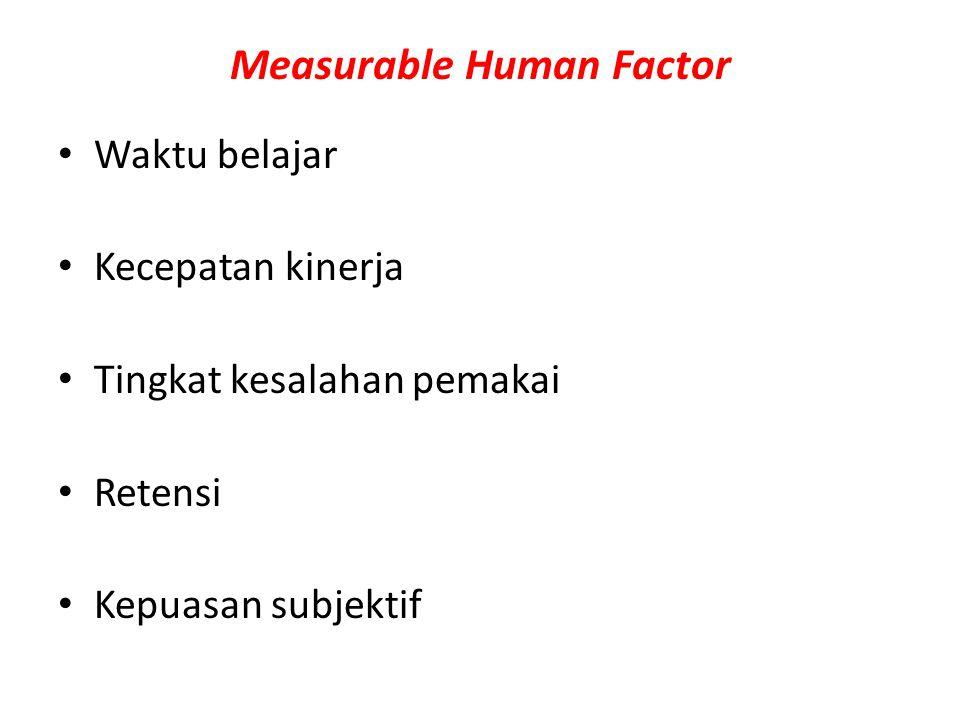 Measurable Human Factor Waktu belajar Kecepatan kinerja Tingkat kesalahan pemakai Retensi Kepuasan subjektif