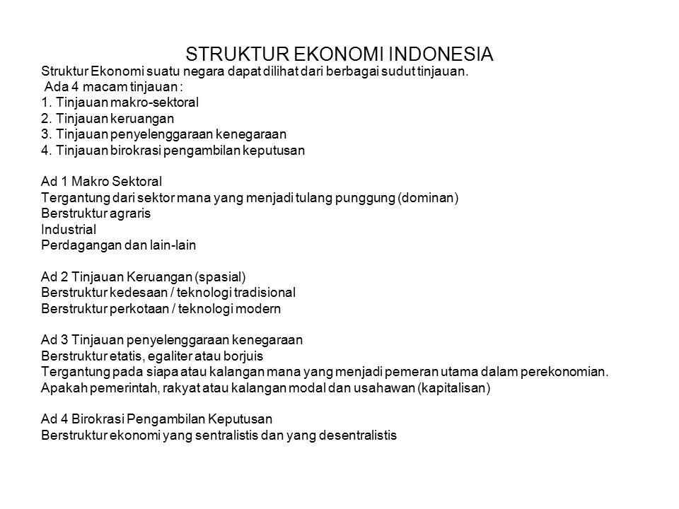 STRUKTUR EKONOMI INDONESIA Struktur Ekonomi suatu negara dapat dilihat dari berbagai sudut tinjauan.