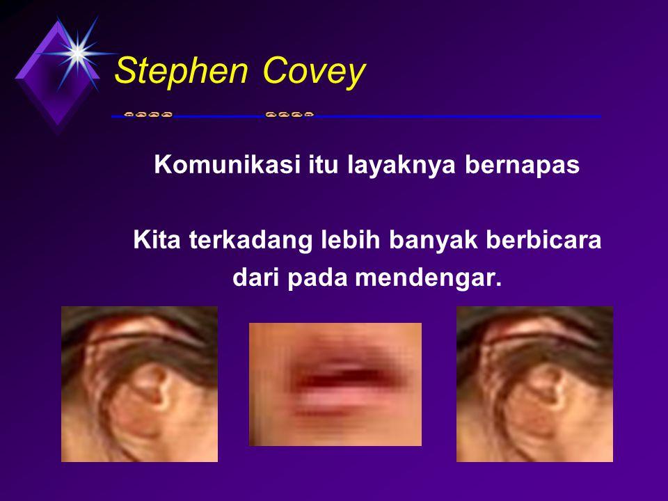 Stephen Covey Komunikasi itu layaknya bernapas Kita terkadang lebih banyak berbicara dari pada mendengar.