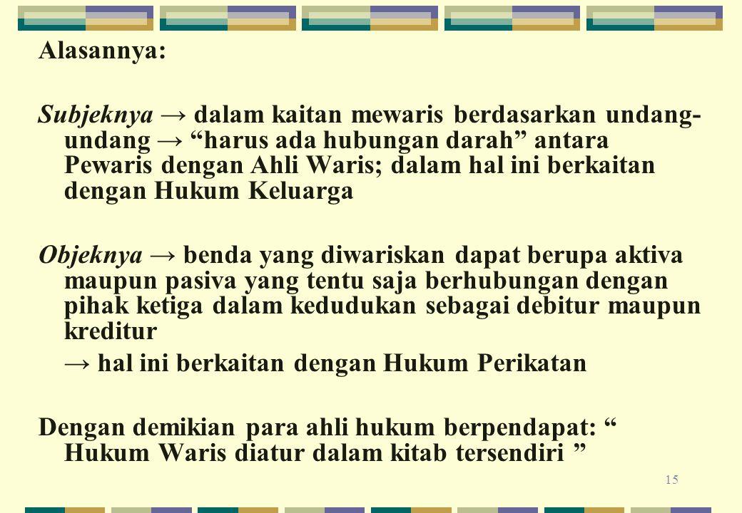 """15 Alasannya: Subjeknya → dalam kaitan mewaris berdasarkan undang- undang → """"harus ada hubungan darah"""" antara Pewaris dengan Ahli Waris; dalam hal ini"""