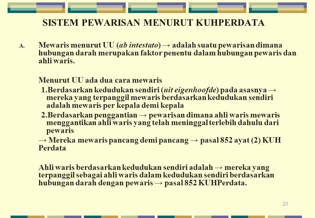 20 SISTEM PEWARISAN MENURUT KUHPERDATA A. Mewaris menurut UU (ab intestato) → adalah suatu pewarisan dimana hubungan darah merupakan faktor penentu da