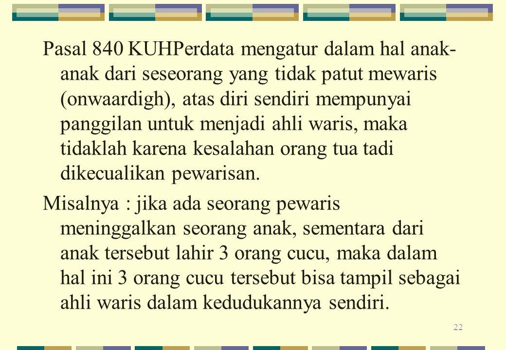 Pasal 840 KUHPerdata mengatur dalam hal anak- anak dari seseorang yang tidak patut mewaris (onwaardigh), atas diri sendiri mempunyai panggilan untuk m