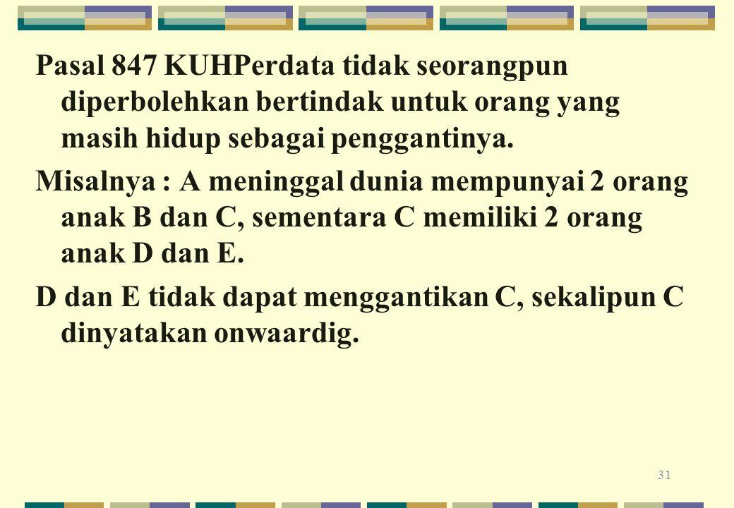 Pasal 847 KUHPerdata tidak seorangpun diperbolehkan bertindak untuk orang yang masih hidup sebagai penggantinya. Misalnya : A meninggal dunia mempunya
