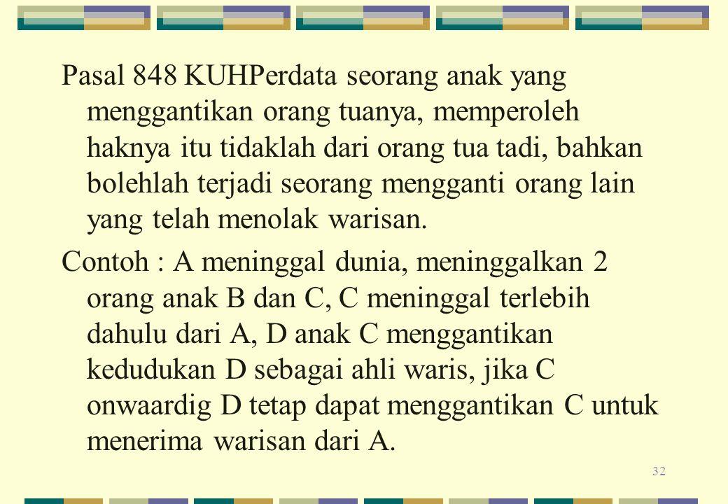 Pasal 848 KUHPerdata seorang anak yang menggantikan orang tuanya, memperoleh haknya itu tidaklah dari orang tua tadi, bahkan bolehlah terjadi seorang