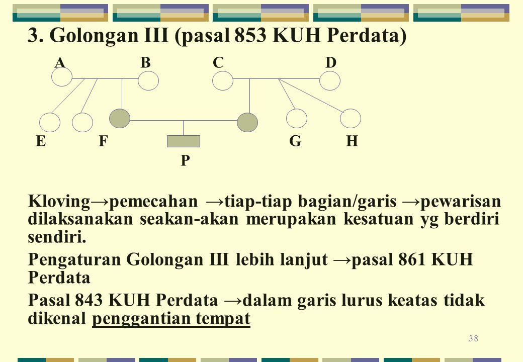 38 3. Golongan III (pasal 853 KUH Perdata) A B C D E F G H P Kloving→pemecahan →tiap-tiap bagian/garis →pewarisan dilaksanakan seakan-akan merupakan k