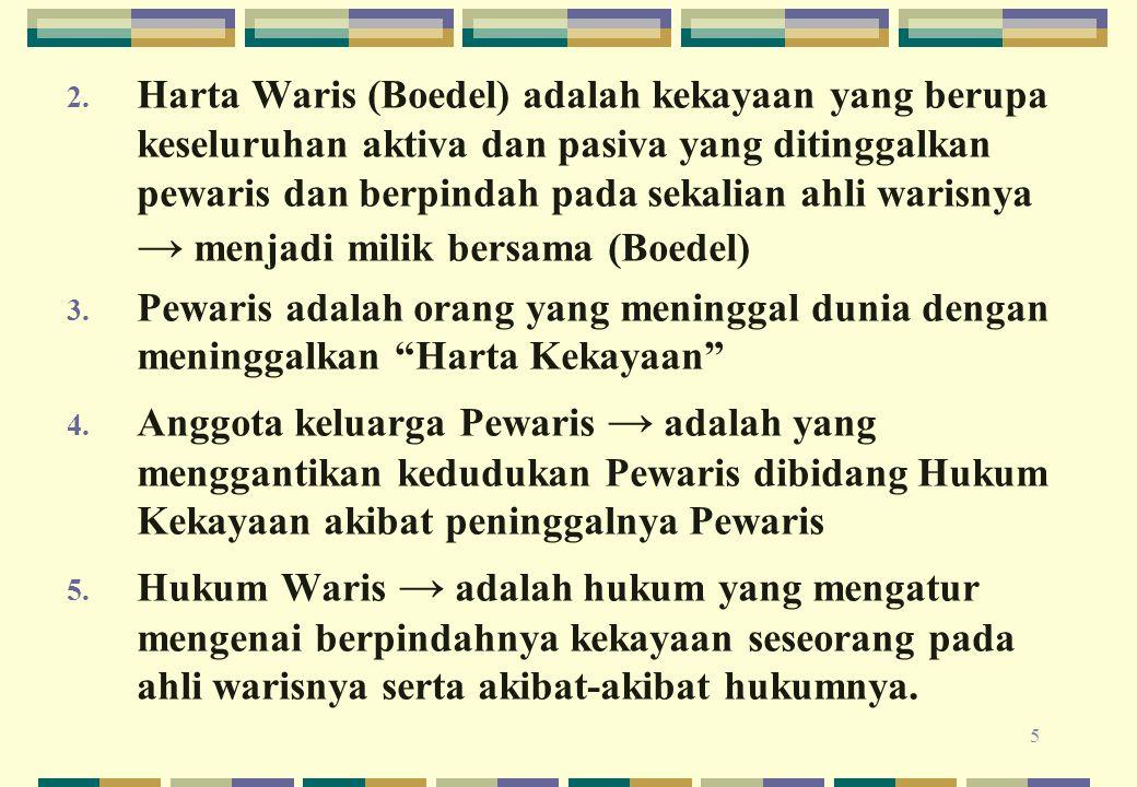 5 2. Harta Waris (Boedel) adalah kekayaan yang berupa keseluruhan aktiva dan pasiva yang ditinggalkan pewaris dan berpindah pada sekalian ahli warisny