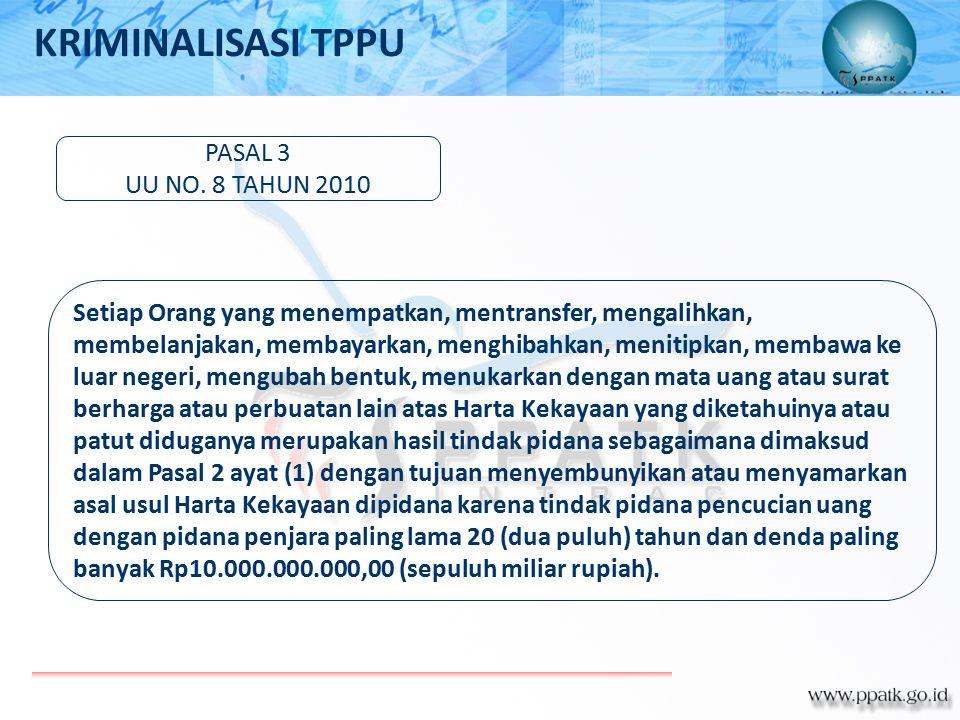 PASAL 3 UU NO. 8 TAHUN 2010 Setiap Orang yang menempatkan, mentransfer, mengalihkan, membelanjakan, membayarkan, menghibahkan, menitipkan, membawa ke