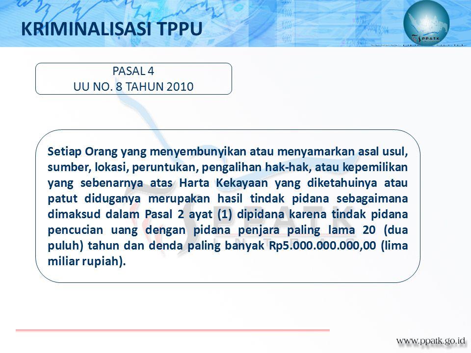PASAL 4 UU NO. 8 TAHUN 2010 Setiap Orang yang menyembunyikan atau menyamarkan asal usul, sumber, lokasi, peruntukan, pengalihan hak-hak, atau kepemili