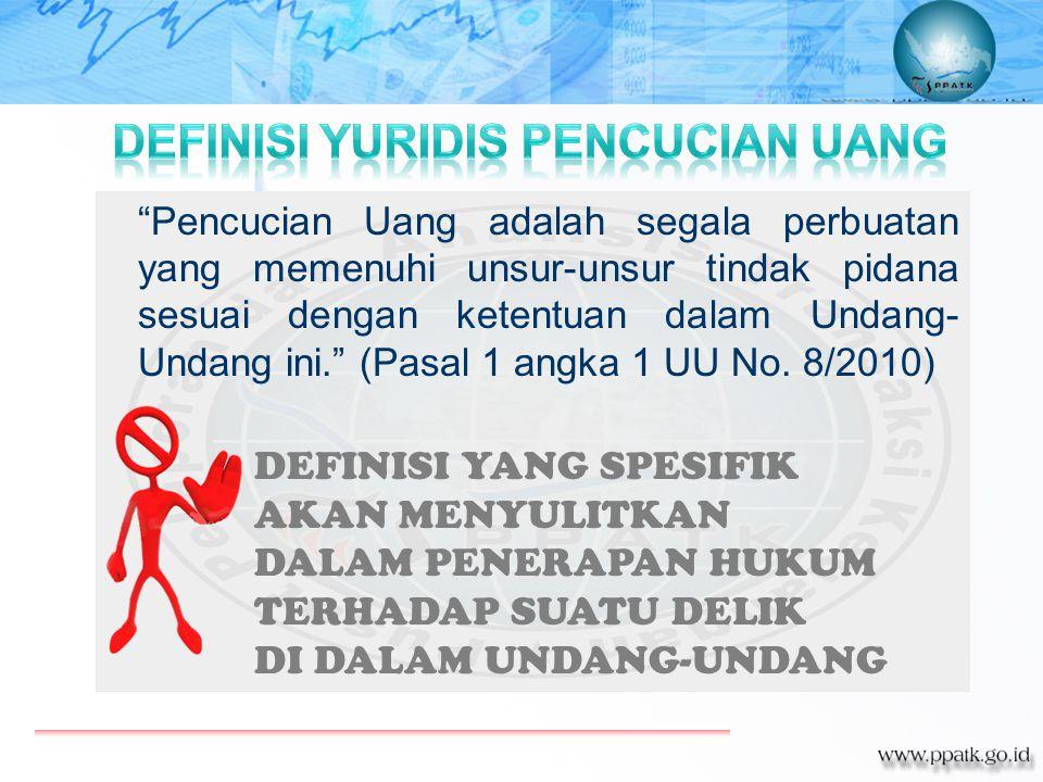 """""""Pencucian Uang adalah segala perbuatan yang memenuhi unsur-unsur tindak pidana sesuai dengan ketentuan dalam Undang- Undang ini."""" (Pasal 1 angka 1 UU"""