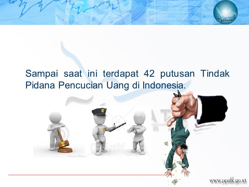 Kasus Tindak Pidana Pencucian Uang Sampai saat ini terdapat 42 putusan Tindak Pidana Pencucian Uang di Indonesia. 48