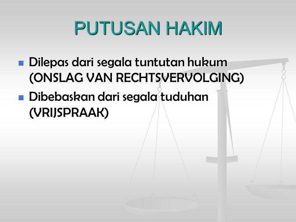 PUTUSAN HAKIM Dilepas dari segala tuntutan hukum (ONSLAG VAN RECHTSVERVOLGING) Dilepas dari segala tuntutan hukum (ONSLAG VAN RECHTSVERVOLGING) Dibeba