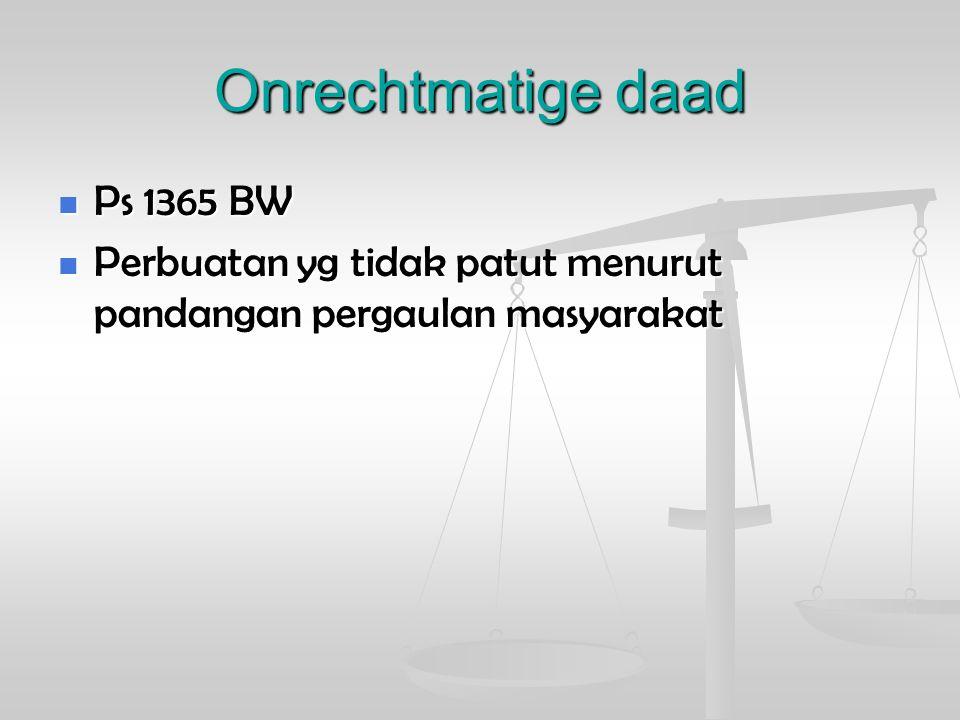 Onrechtmatige daad Ps 1365 BW Ps 1365 BW Perbuatan yg tidak patut menurut pandangan pergaulan masyarakat Perbuatan yg tidak patut menurut pandangan pe
