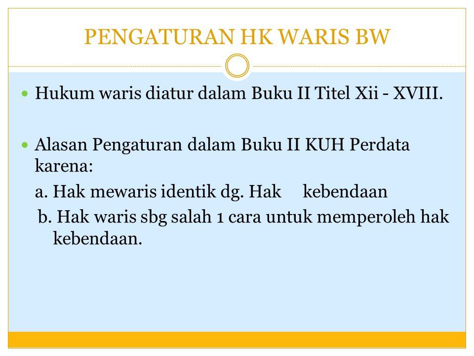 PENGATURAN HK WARIS BW Hukum waris diatur dalam Buku II Titel Xii - XVIII. Alasan Pengaturan dalam Buku II KUH Perdata karena: a. Hak mewaris identik