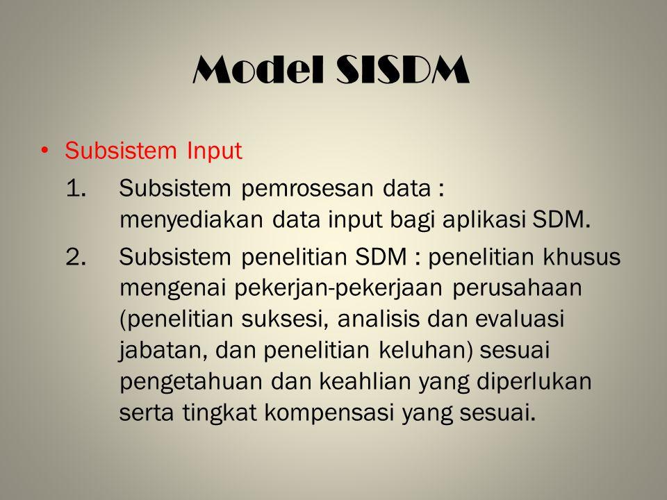 Model SISDM Subsistem Input 1. Subsistem pemrosesan data : menyediakan data input bagi aplikasi SDM. 2.Subsistem penelitian SDM : penelitian khusus me