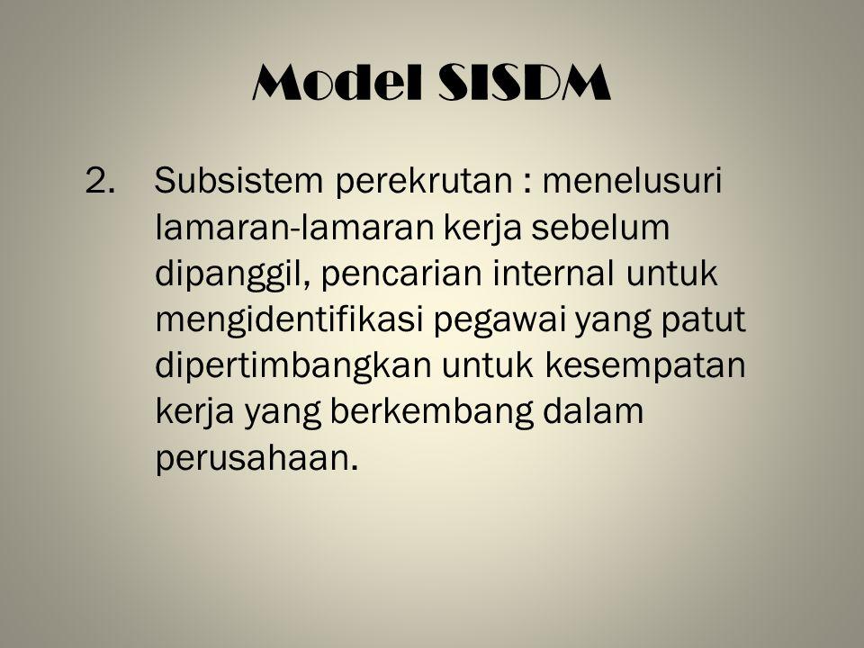 Model SISDM 2.Subsistem perekrutan : menelusuri lamaran-lamaran kerja sebelum dipanggil, pencarian internal untuk mengidentifikasi pegawai yang patut