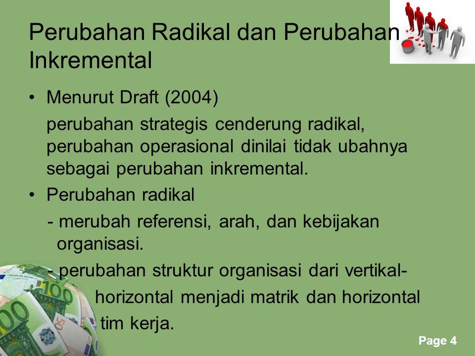 Powerpoint Templates Page 4 Perubahan Radikal dan Perubahan Inkremental Menurut Draft (2004) perubahan strategis cenderung radikal, perubahan operasio