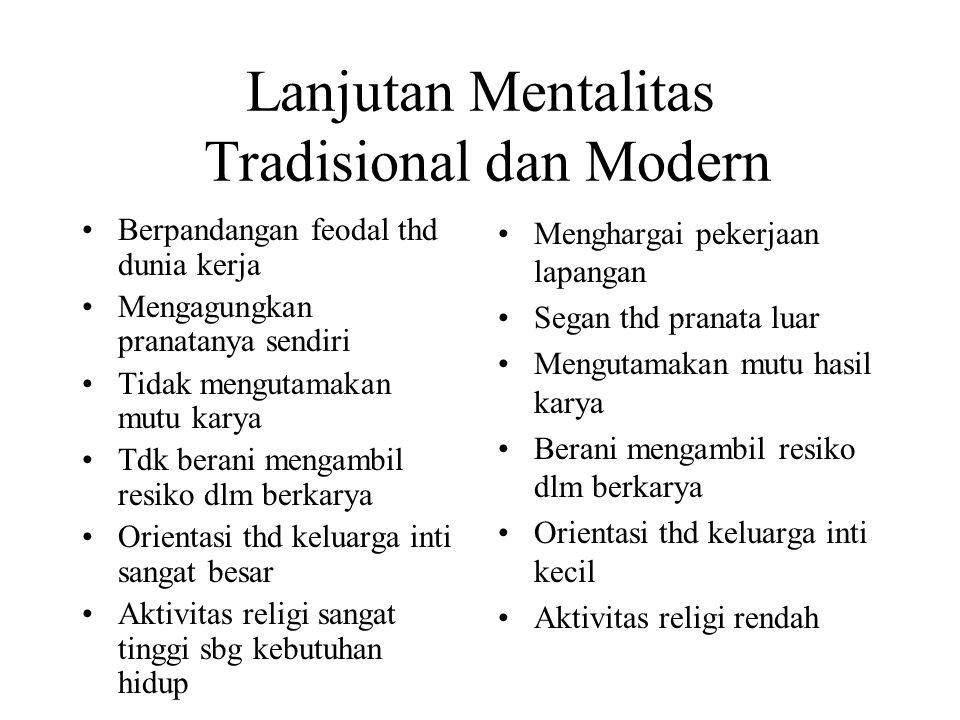 Lanjutan Mentalitas Tradisional dan Modern Berpandangan feodal thd dunia kerja Mengagungkan pranatanya sendiri Tidak mengutamakan mutu karya Tdk beran