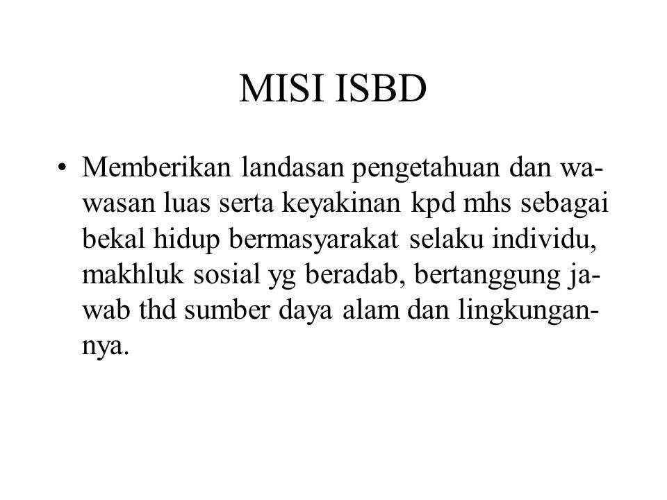 MISI ISBD Memberikan landasan pengetahuan dan wa- wasan luas serta keyakinan kpd mhs sebagai bekal hidup bermasyarakat selaku individu, makhluk sosial