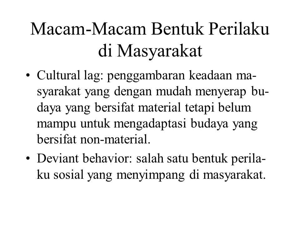 Macam-Macam Bentuk Perilaku di Masyarakat Cultural lag: penggambaran keadaan ma- syarakat yang dengan mudah menyerap bu- daya yang bersifat material t