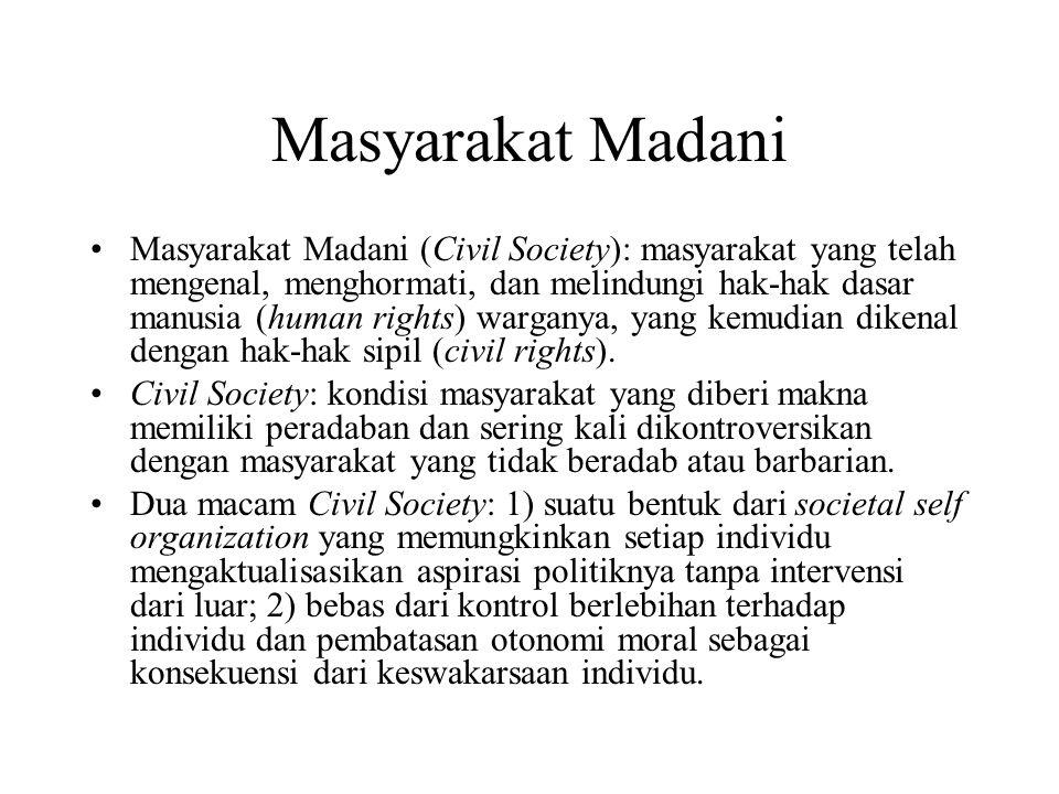 Masyarakat Madani Masyarakat Madani (Civil Society): masyarakat yang telah mengenal, menghormati, dan melindungi hak-hak dasar manusia (human rights)