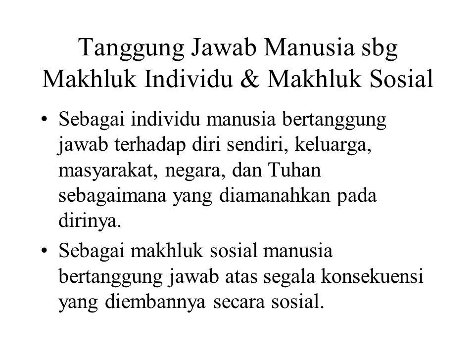 Tanggung Jawab Manusia sbg Makhluk Individu & Makhluk Sosial Sebagai individu manusia bertanggung jawab terhadap diri sendiri, keluarga, masyarakat, n