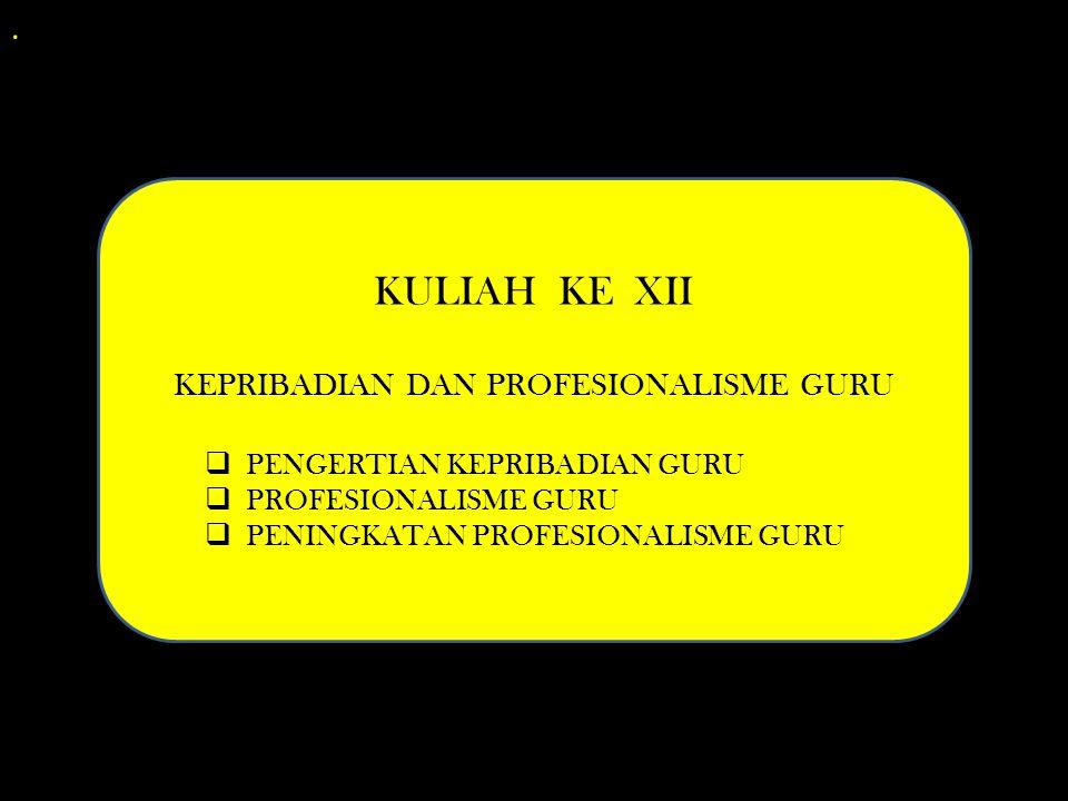 . KULIAH KE XII KEPRIBADIAN DAN PROFESIONALISME GURU  PENGERTIAN KEPRIBADIAN GURU  PROFESIONALISME GURU  PENINGKATAN PROFESIONALISME GURU