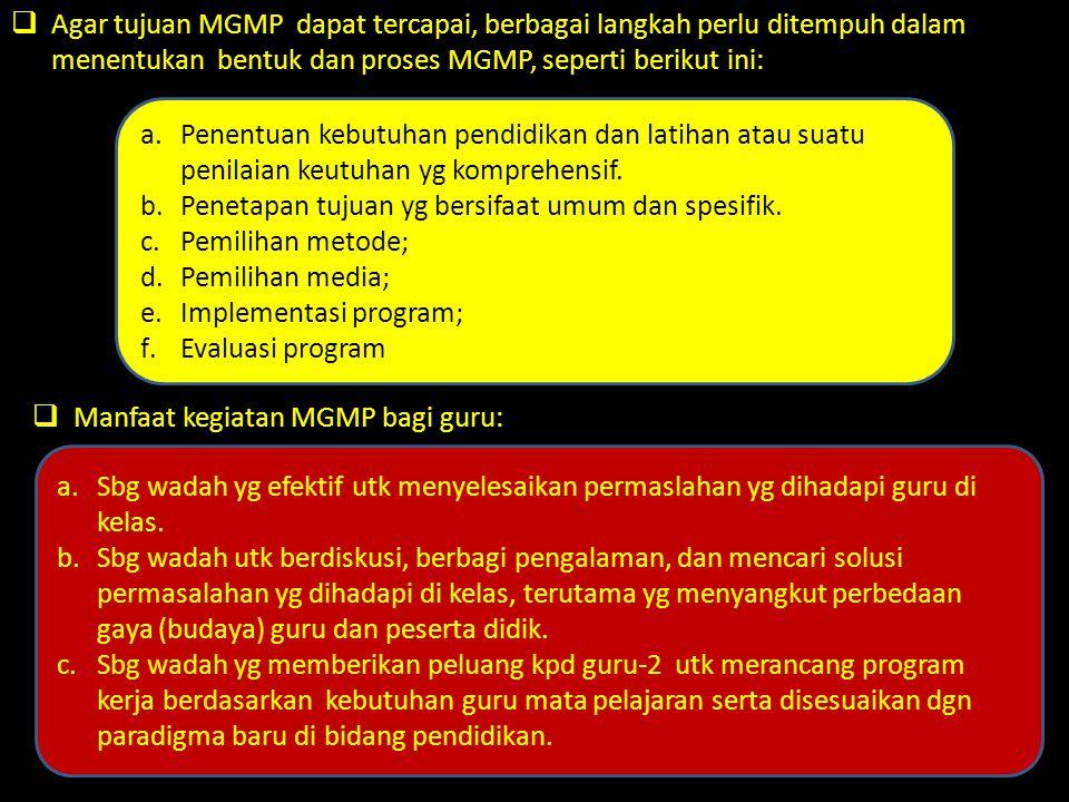  Agar tujuan MGMP dapat tercapai, berbagai langkah perlu ditempuh dalam menentukan bentuk dan proses MGMP, seperti berikut ini:  Manfaat kegiatan MG
