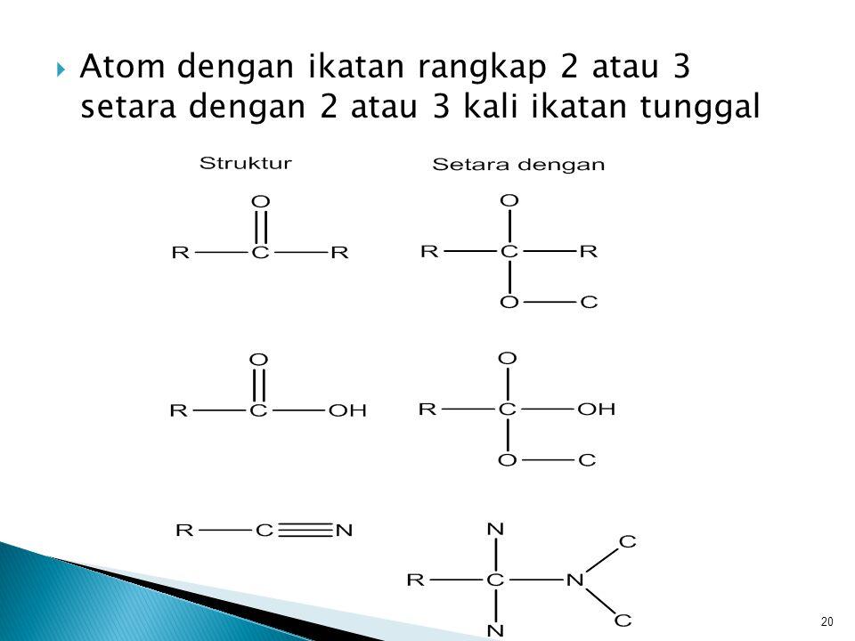  Atom dengan ikatan rangkap 2 atau 3 setara dengan 2 atau 3 kali ikatan tunggal 20