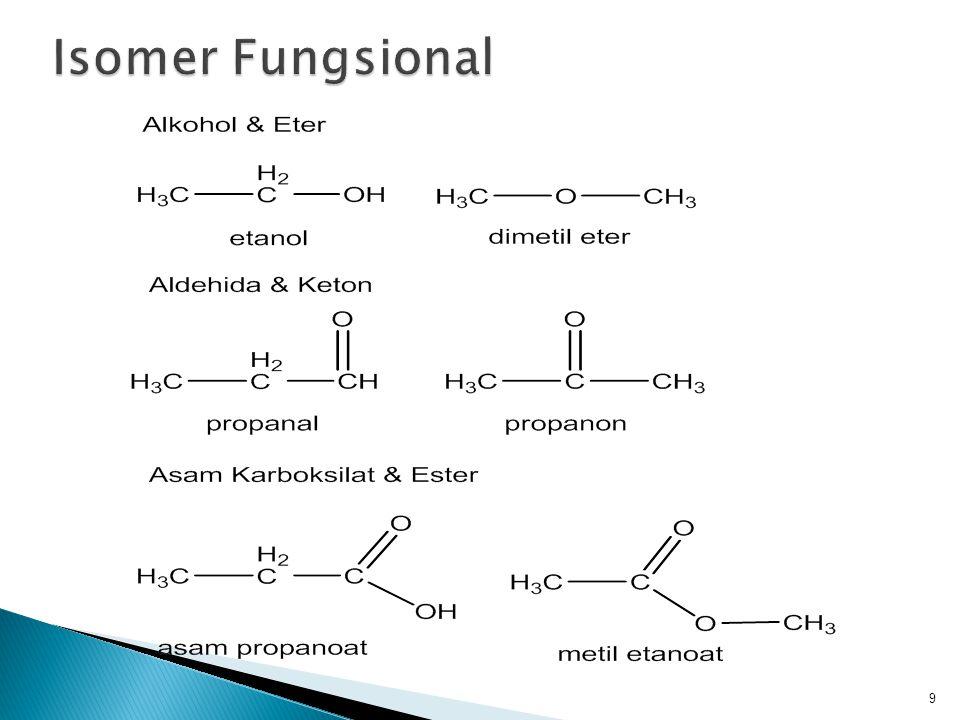  Stereoisomer adalah suatu molekul yang mempunyai pelekatan atom yang sama tetapi berbeda susunan atomnya diruangan 3 dimensi  Dalam stereoisomer, atom yang menghasilkan isomer berada pada posisi yang sama namun memiliki pengaturan keruangan yang berbeda  Contoh: isomer geometrik 10