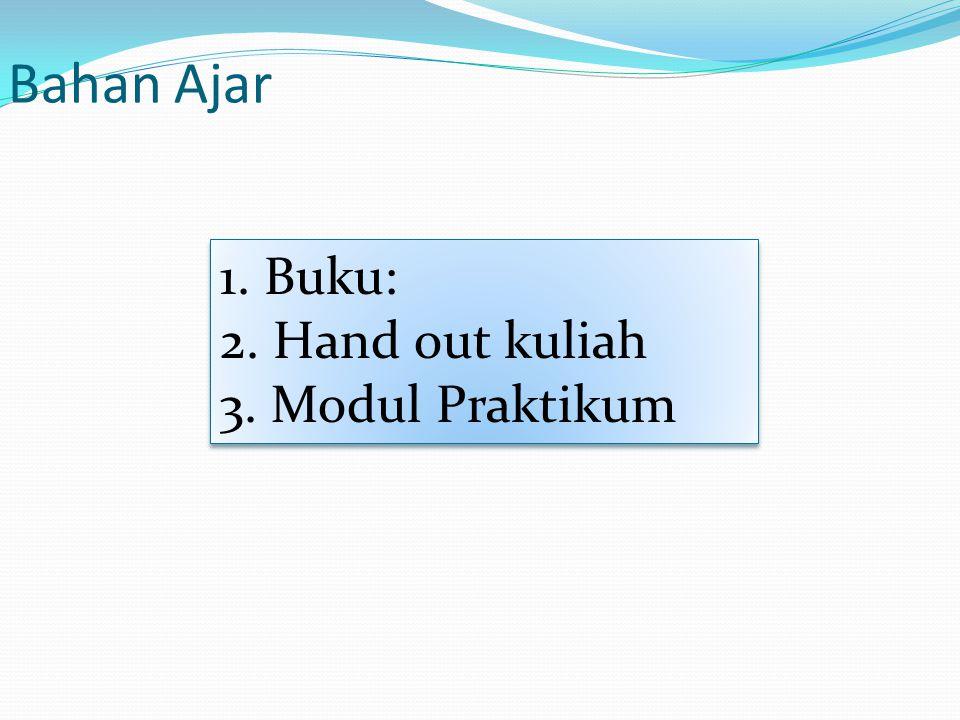 1. Buku: 2. Hand out kuliah 3. Modul Praktikum 1. Buku: 2. Hand out kuliah 3. Modul Praktikum Bahan Ajar